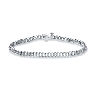 Auriya 14k White Gold 1ct Round Cut Diamond Chain Link Bracelet (H-I, SI2-SI3)