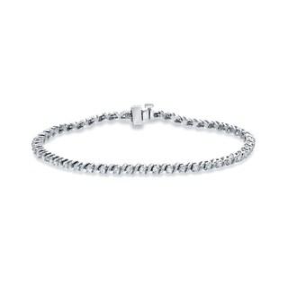 Auriya 14k White Gold 1ct TDW Round Diamond Tennis Bracelet