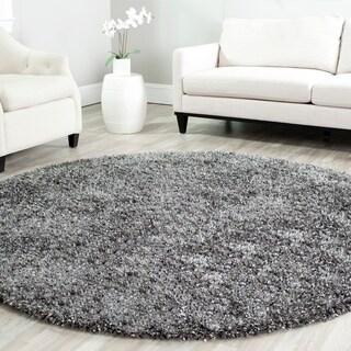 Safavieh Handmade Malibu Shag Charcoal Grey Polyester Rug (5' x 5' Round)
