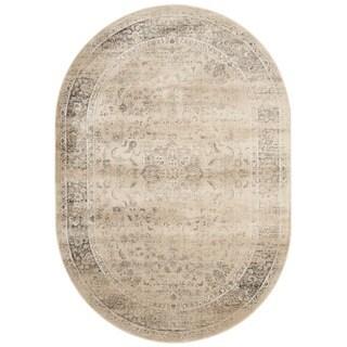 Safavieh Vintage Oriental Warm Beige Distressed Silky Viscose Rug (5' Oval)