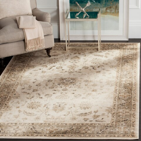 "Safavieh Vintage Oriental Stone/ Mouse Brown Distressed Silky Viscose Rug - 5'3"" x 7'6"" Oval"