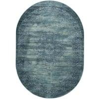 "Safavieh Vintage Oriental Turquoise Distressed Silky Viscose Rug - 5'3"" x 7'6"" Oval"