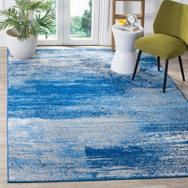 Safavieh Adirondack Modern Abstract Silver/ Blue Rug (2'6 x 4') - 2'6 x 4'