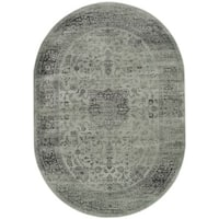 Safavieh Vintage Oriental Spruce Green/ Ivory Distressed Silky Viscose Rug - 5' oval