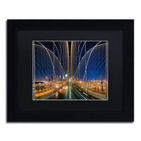 David Ayash 'Brooklyn Bridge Panorama' Black Matte, Black Framed Wall Art
