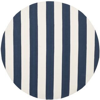 Safavieh Hand-Woven Montauk Navy/ Ivory Cotton Rug (4' x 4' Round)