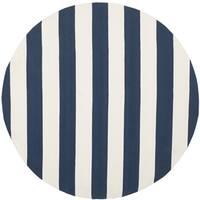 Safavieh Montauk Hand-Woven Coastal Flatweave Navy/ Ivory Cotton Rug - 4' x 4' Round