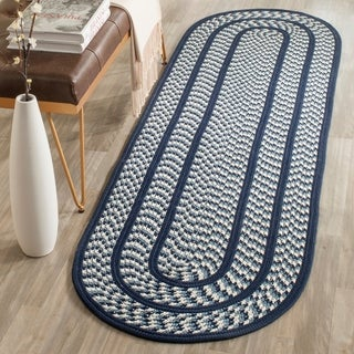 Safavieh Hand-woven Braided Ivory/ Navy Rug (2'3 x 8' Oval)
