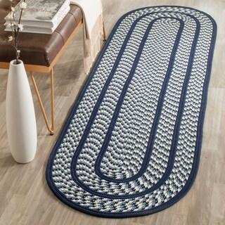 Safavieh Hand-woven Braided Ivory/ Navy Rug (2'3 x 8' Oval)