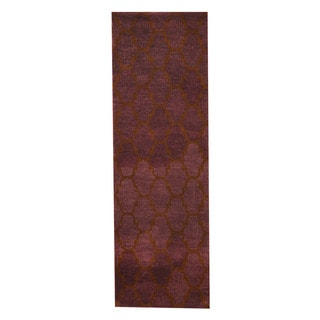 Herat Oriental Indo Hand-tufted Tibetan Purple/ Dark Brown Wool Rug (2'6 x 8')