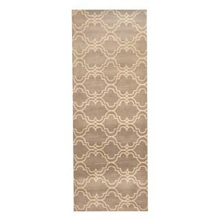 Herat Oriental Indo Hand-tufted Tibetan Gray/ Ivory Wool Rug (3' x 8')