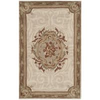Safavieh Hand-Tufted Empire Ivory/ Light Grey Wool Rug - 2'6 x 4'