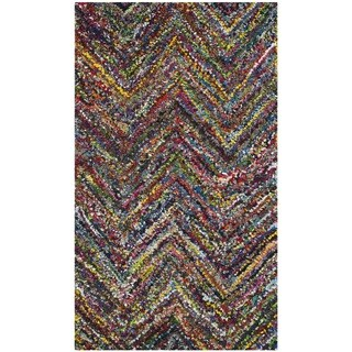 Safavieh Handmade Nantucket Abstract Chevron Blue/ Multi Cotton Rug (2' x 3')