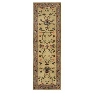 Herat Oriental Indo Hand-tufted Mahal Green/ Blue Wool Rug (2'6 x 8')