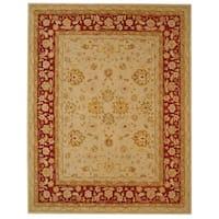 Safavieh Handmade Anatolia Oriental Ivory/ Red Hand-spun Wool Rug - 11' x 15'