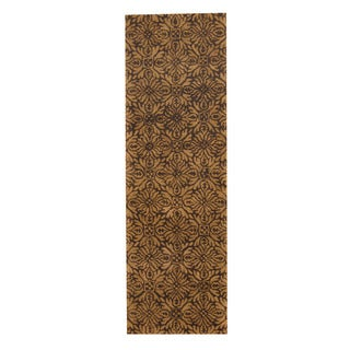 Herat Oriental Indo Hand-tufted Tibetan Dark Brown/ Light Brown Wool Rug (2'7 x 8')