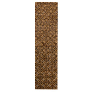Herat Oriental Indo Hand-tufted Tibetan Dark Brown/ Light Brown Wool Rug (2'7 x 10')