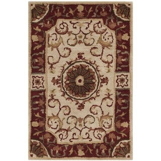 Safavieh Handmade Empire Ivory/ Red Wool Rug (2' x 3')