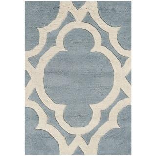 Safavieh Handmade Chatham Blue/ Ivory Wool Rug (2' x 3')