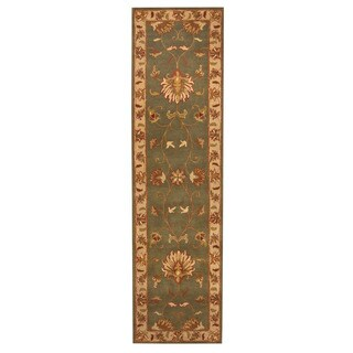 Herat Oriental Indo Hand-tufted Mahal Green/ Ivory Wool Rug (2'8 x 9'10)