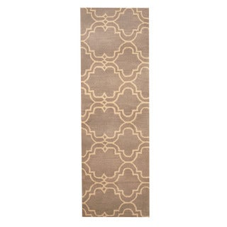 Herat Oriental Indo Hand-tufted Tibetan Tan/ Ivory Wool Rug (2' x 6')