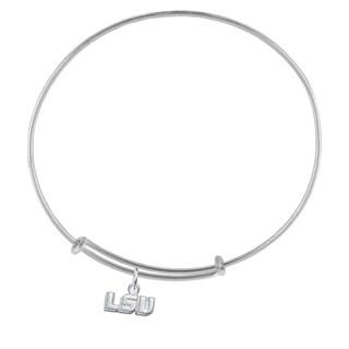 LSU Sterling Silver Charm Adjustable Bracelet