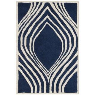 Safavieh Handmade Chatham Dark Blue/ Ivory Wool Rug (2' x 3')
