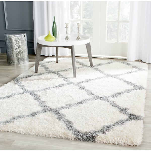 Safavieh Montreal Shag Ivory/ Grey Polyester Rug (10' x 14') - 10' x 14'
