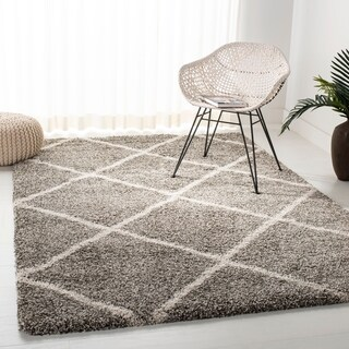 Safavieh Hudson Diamond Shag Grey/ Ivory Large Area Rug (10u0027 X ...