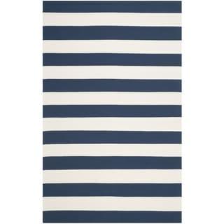 Safavieh Hand-Woven Montauk Navy/ Ivory Cotton Rug (10' x 14')