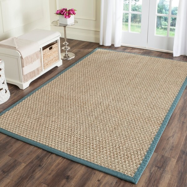 Safavieh Casual Natural Fiber Natural and Light Blue Border Seagrass Rug - 10' x 14'