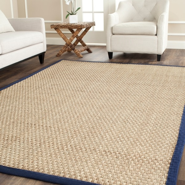 Safavieh Casual Natural Fiber Natural and Blue Border Seagrass Rug - 10' x 14'