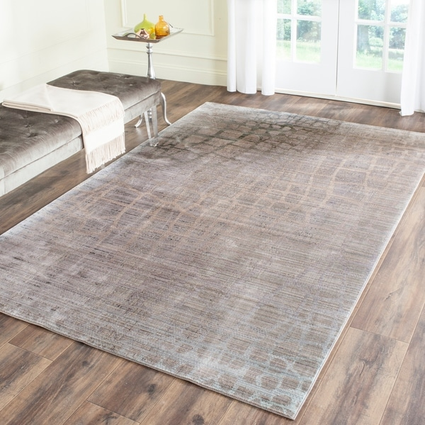 Safavieh Valencia Grey/ Multi Abstract Distressed Silky Polyester Rug - 9' x 12'