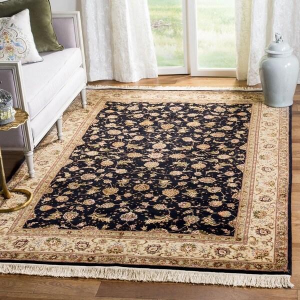Safavieh Hand-knotted Tabriz Floral Navy/ Beige Wool/ Silk Rug - 9' x 12'