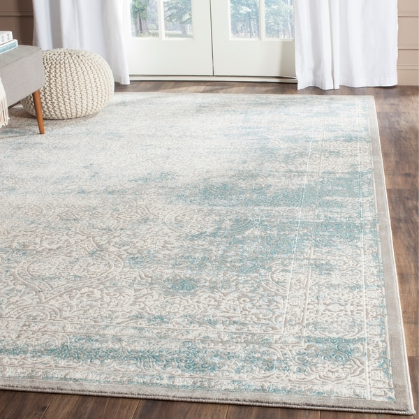 Safavieh Passion Watercolor Turquoise/ Ivory Distressed Rug - 9' x 12'