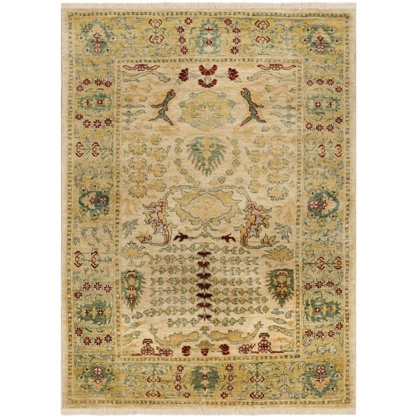 Safavieh Hand-knotted Peshawar Vegetable Dye Ivory/ Gold Wool Rug (9' x 12')