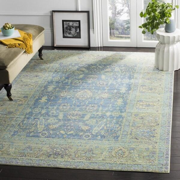 Safavieh Valencia Blue/ Multi Distressed Silky Polyester Rug (9' x 12')