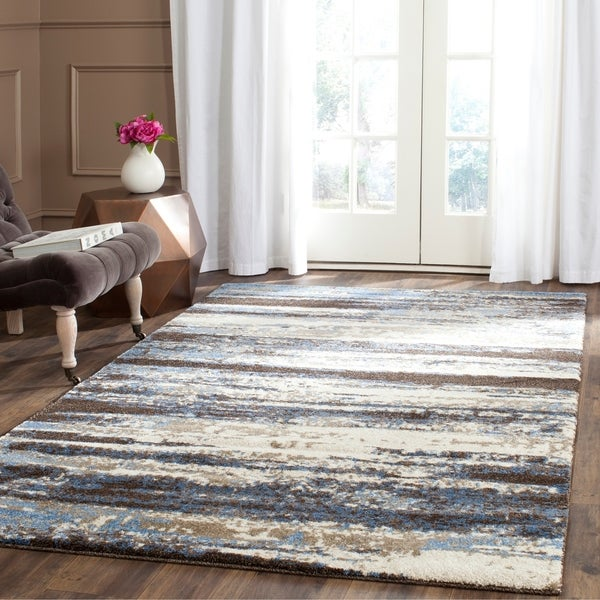 Safavieh Retro Modern Abstract Cream/ Blue Distressed Rug - 8'9 x 12'