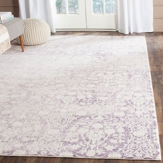 Safavieh Passion Watercolor Vintage Lavender/ Ivory Distressed Rug (9' x 12')