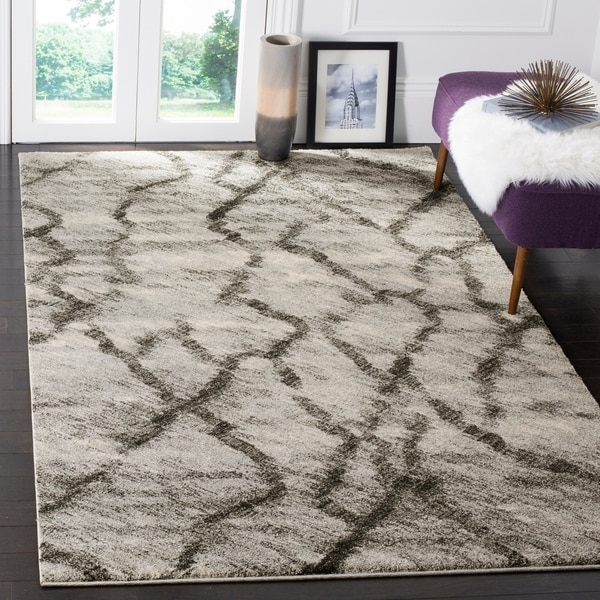 "Safavieh Retro Modern Abstract Light Grey/ Black Distressed Rug - 8'9"" x 12'"