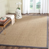 Safavieh Casual Natural Fiber Natural and Dark Grey Border Seagrass Rug - 9' x 12'