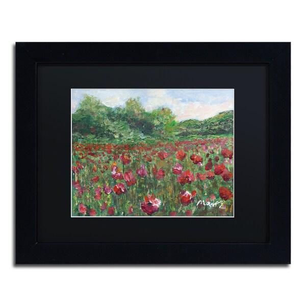Manor Shadian 'Poppy Field Wood' Black Matte, Black Framed Wall Art