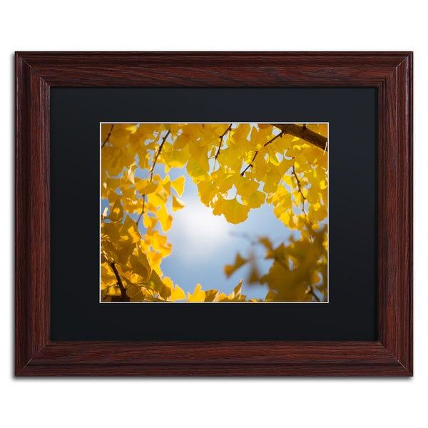 Philippe Sainte-Laudy 'Ginkgo Leaves in Autumn' Black Matte, Wood Framed Wall Art