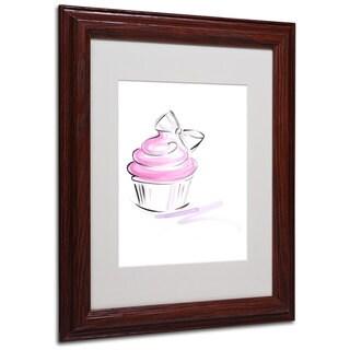 Jennifer Lilya 'Cupcake 2' White Matte, Wood Framed Wall Art