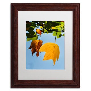 Philippe Sainte-Laudy 'Couples Fall' White Matte, Wood Framed Wall Art