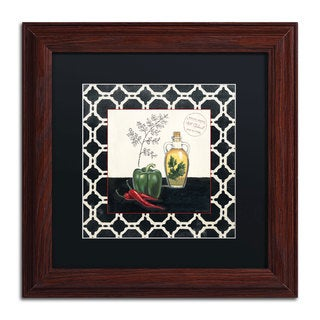 Marco Fabiano 'Parsley and Peppers' Black Matte, Wood Framed Wall Art