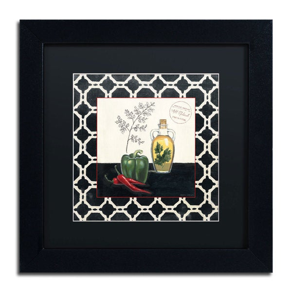 Marco Fabiano 'Parsley and Peppers' Black Matte, Black Framed Wall Art