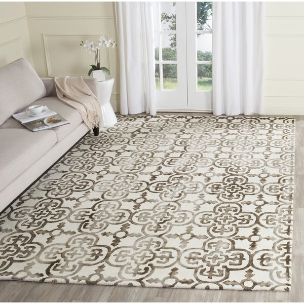 Safavieh Handmade Dip Dye Watercolor Vintage Ivory/ Brown Wool Rug - 9' x 12'