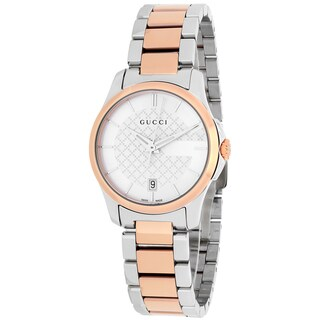 Gucci Women's YA126528 G-Timeless Round Two-tone Stainless Steel Bracelet Watch