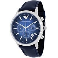 Armani Men's AR2473 Classic Round Navy Leather Strap Watch